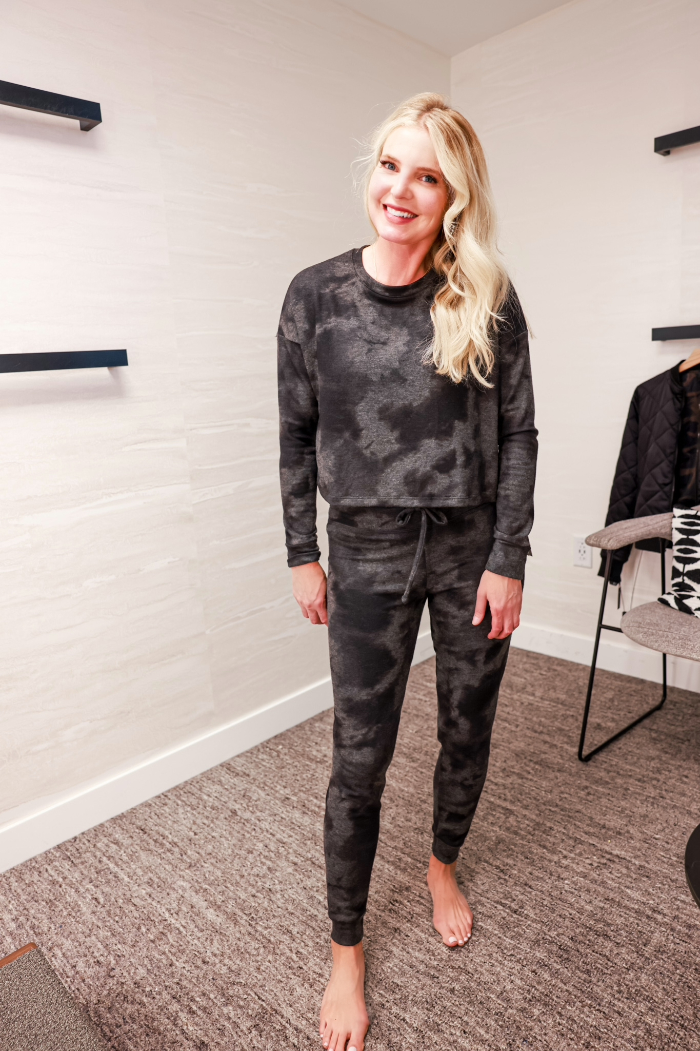Nordstrom Anniversary Sale 2021 - Nordstrom Anniversary Sale Outfits on Erin Busbee - Beyond Yoga Printed Loungewear Set - Beyond Yoga Joggers & Crop Sweater