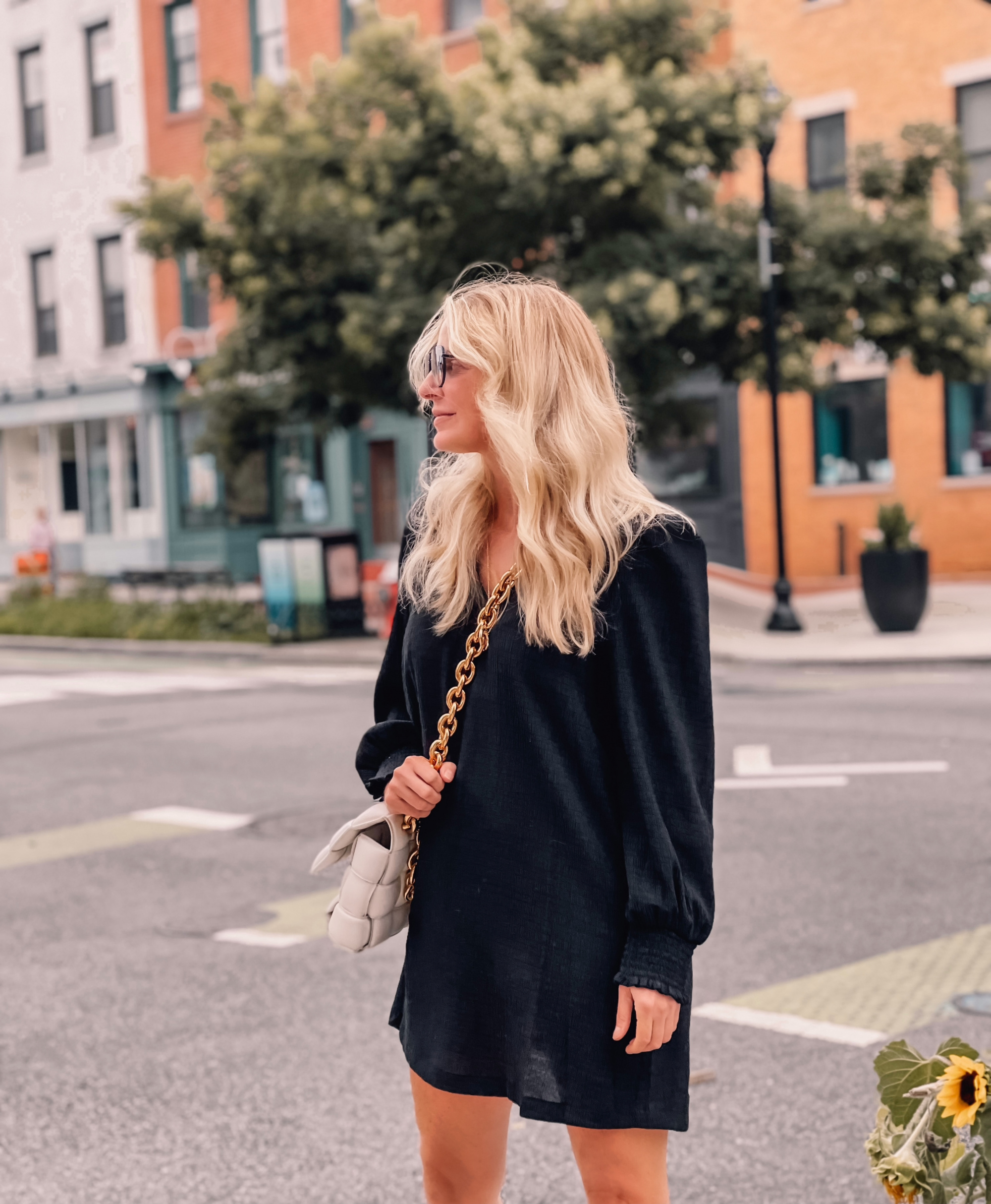 Nordstrom Anniversary Sale fashion finds by fashion blogger over 40 Erin Busbee of Busbee Style featuring BB Dakota by Steve Madden black shift dress with long sleeves