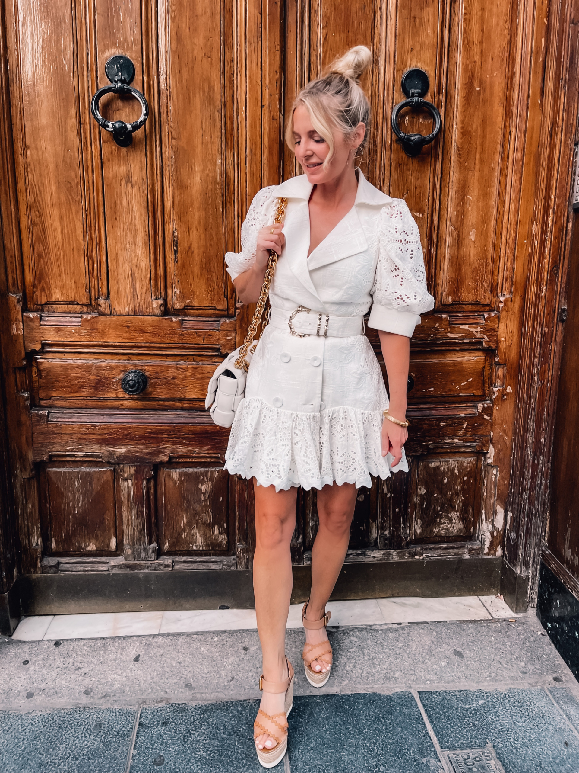 what to wear in spain, how to dress in spain, madrid, how to dress in madrid, what to wear in madrid, how to pack for a trip to spain, trip to spain, packing for spain, erin busbee, acler belted flounce dress, see by chloe espdarille wedges, bottega veneta chain cassette bag