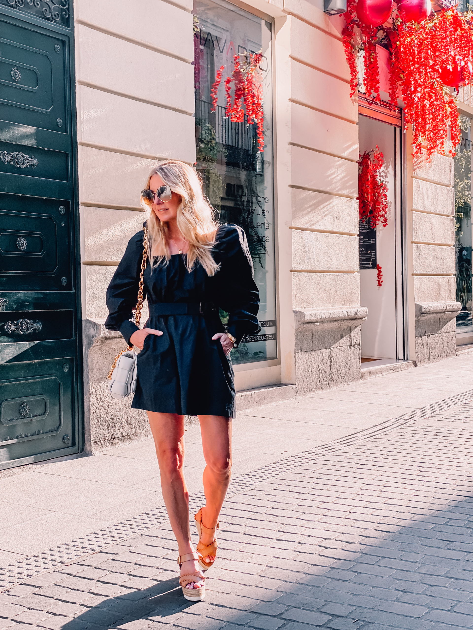 what to wear in spain, how to dress in spain, madrid, how to dress in madrid, what to wear in madrid, how to pack for a trip to spain, trip to spain, packing for spain, erin busbee, style of song black dress, see by chloe wedges, salvatore ferragamo sunglasses, bottega veneta chain cassette bag