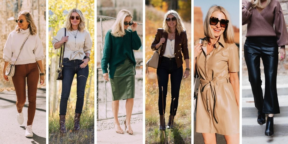 wearable fall trends, fall fashion trends, fall trends, wearable trends, how to wear trends, trends over 40, wearing trends over 40, erin busbee, leather, leather pants, leather shorts, leather skirts, leather shirts, leather dresses, leather jackets