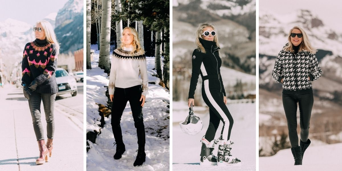 wearable fall trends, fall fashion trends, fall trends, wearable trends, how to wear trends, trends over 40, wearing trends over 40, erin busbee, slope style, apres ski, ski style, cordova jumpsuit, perfect moment houndstooth puffer, ALC fair isle swaters, aqua cashmere fair isle sweaters, fair isle sweaters