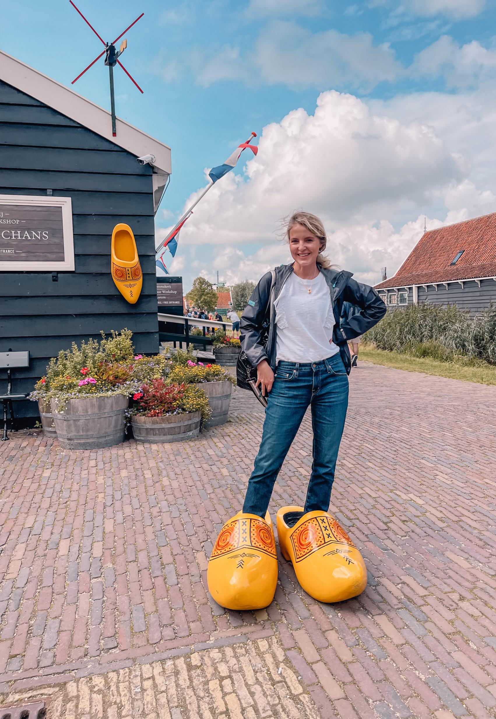 Erin Busbee in Holland standing in wooden clogs